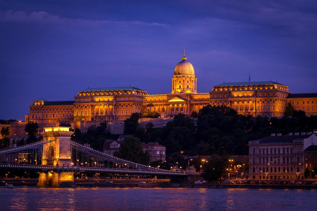 View of the Fisherman Bastion at night in Budapest