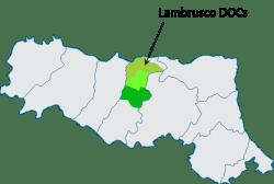 Lambrusco-based DOCs in Emilia Romagna