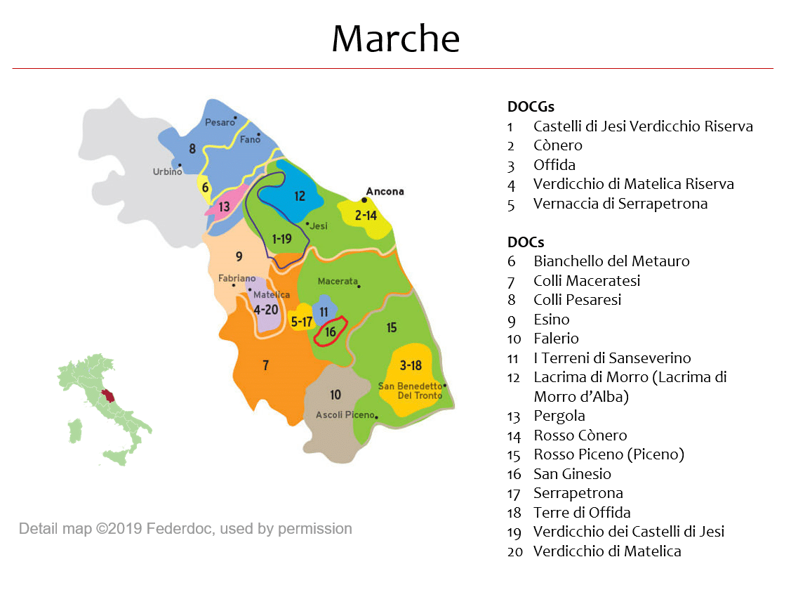 Map of Marche DOPs »Italian Wine Central