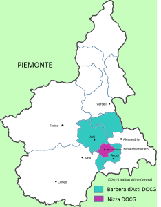 Map of Piemonte showing Nizza and Barbera d'Asti