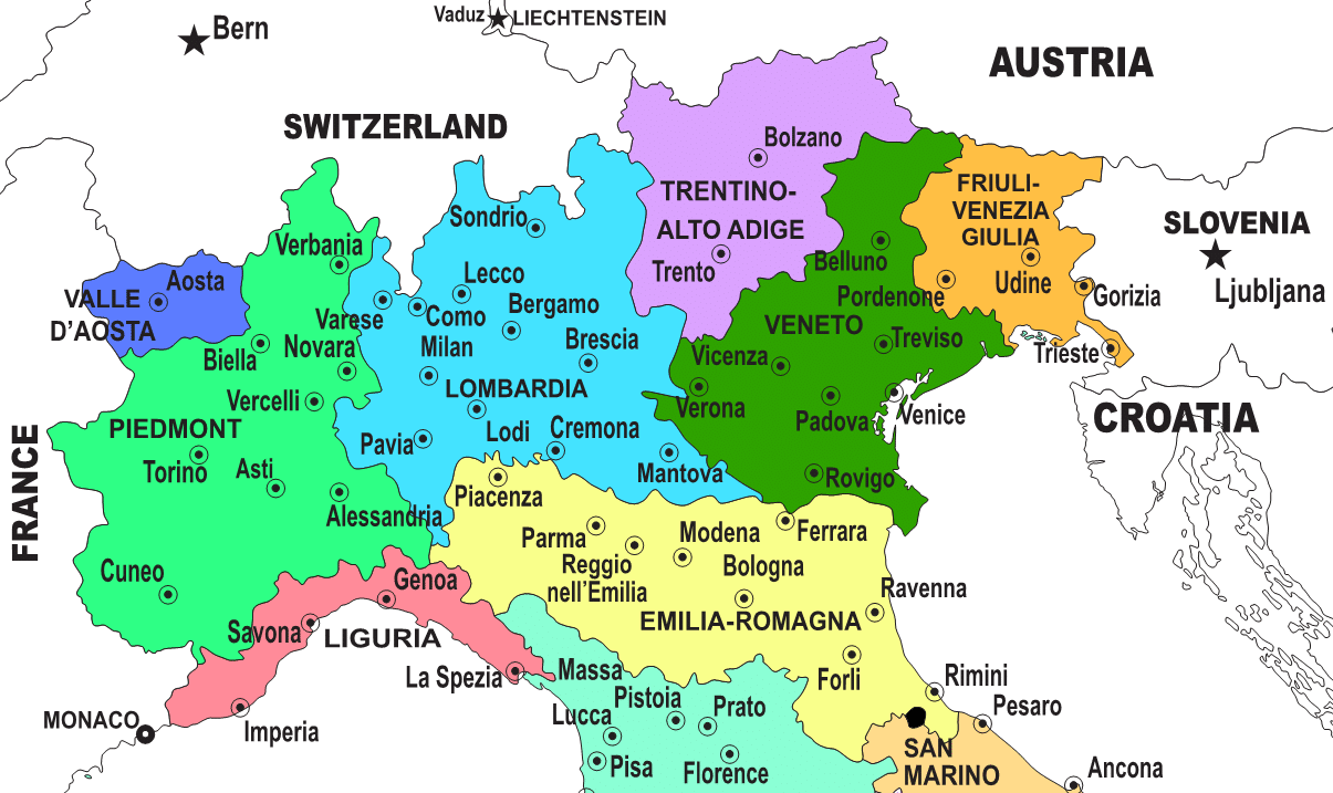 Regions Of Northern Italy Italian Wine Central - Cities map of italy