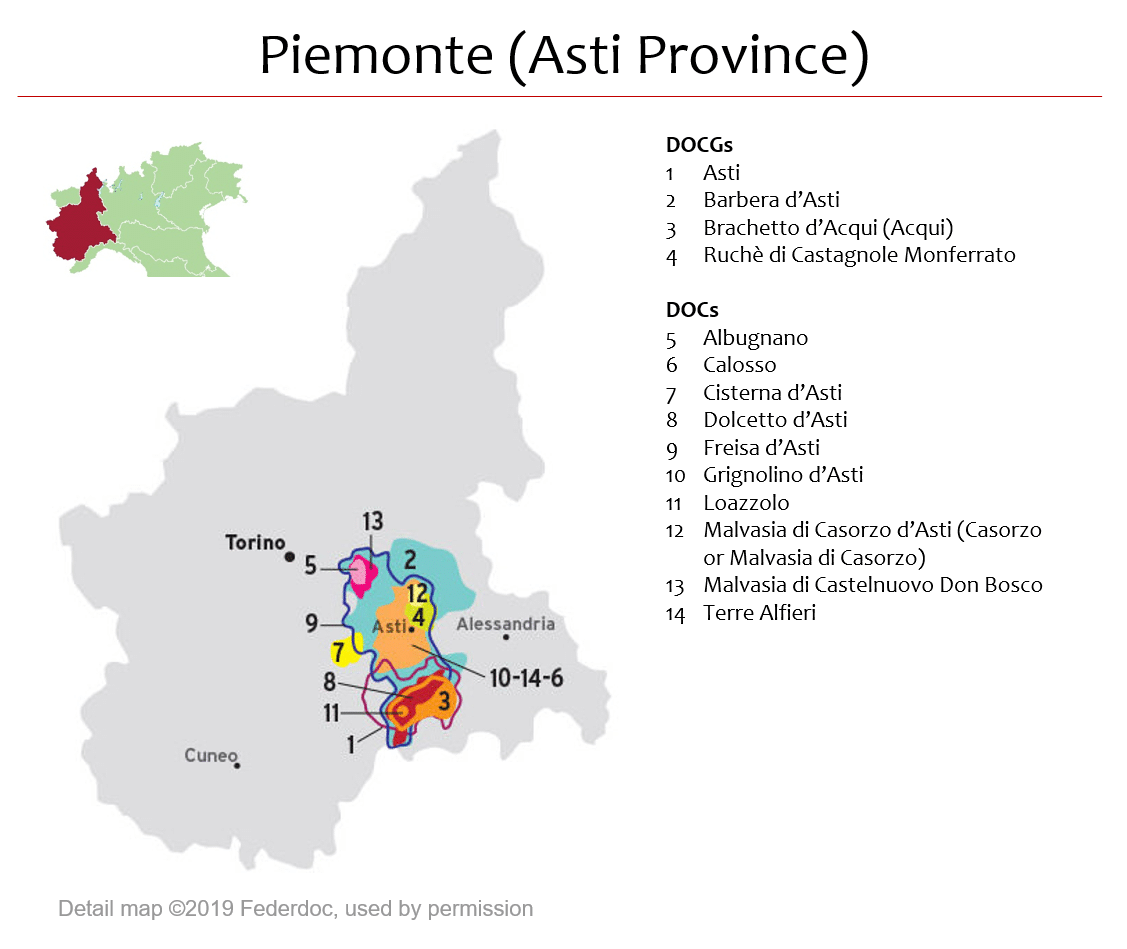 Map Of Piemonte Dops Asti Area Italian Wine Central