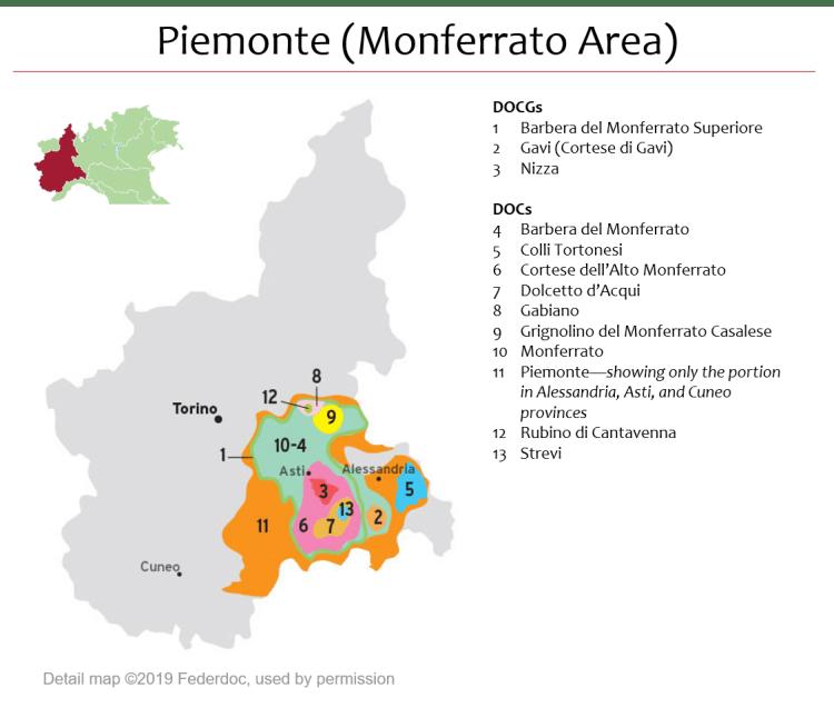 Map Of Piemonte Dops Monferrato Italian Wine Central