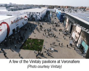 A few of the Vinitaly pavilions at Veronafiere
