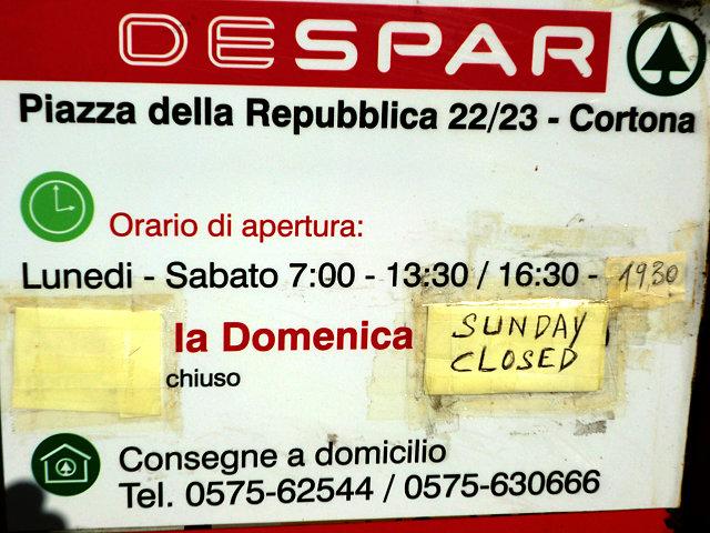 イタリアのスーパー営業時間