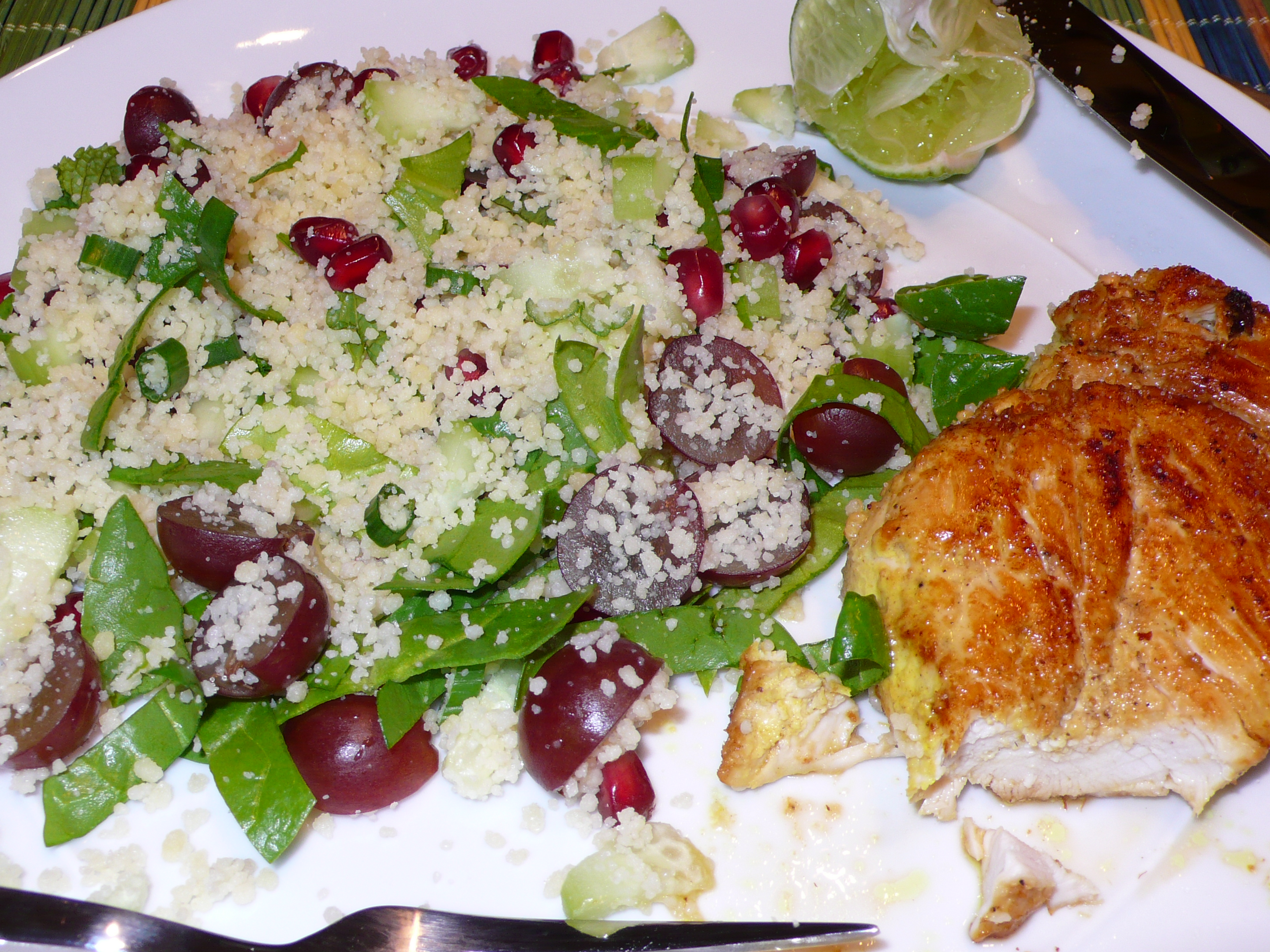 chicken tikka with pomegranate couscous salad