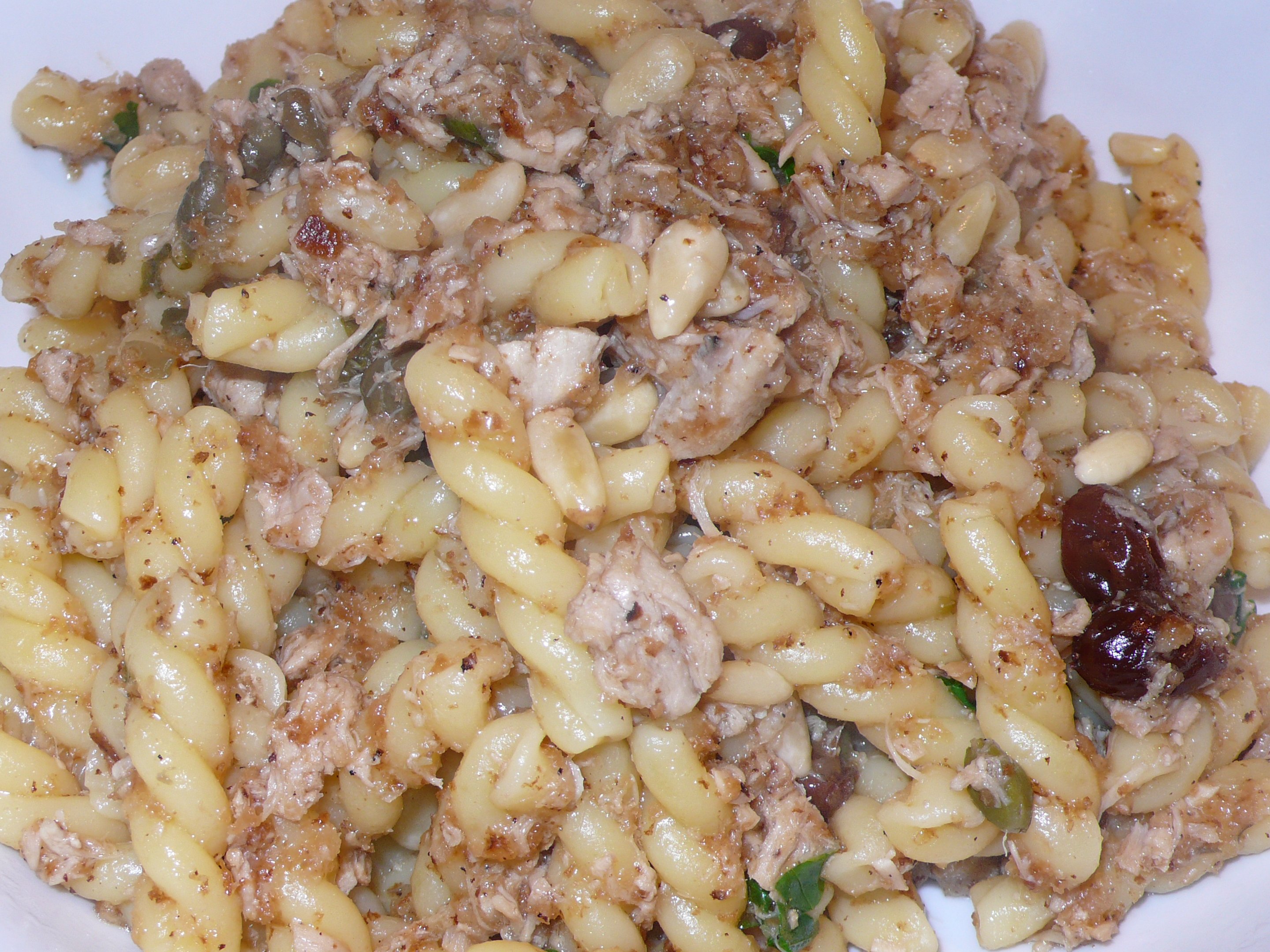 gemelli with tuna, raisins, pine nuts and capers topped with toasted bread crumbs