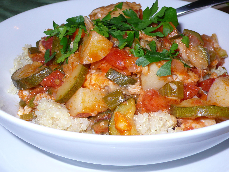 fish stew over quinoa