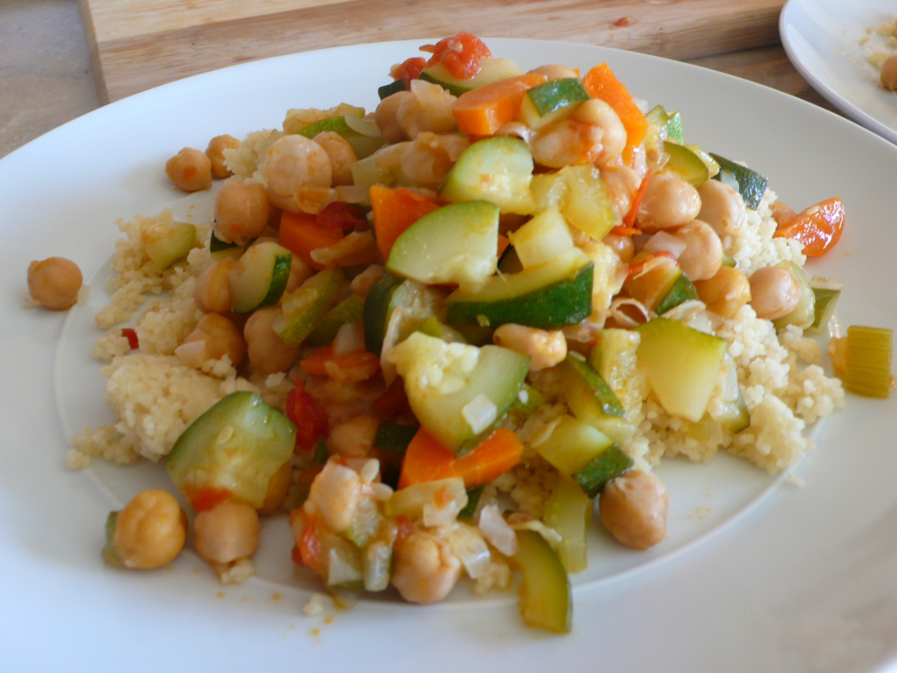 chickpea and veggies stew over couscous