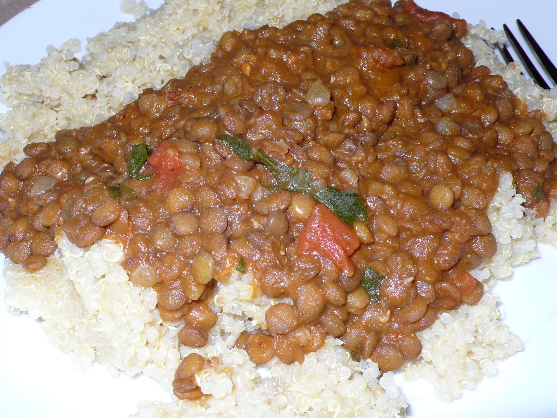 lentil pottage over quinoa