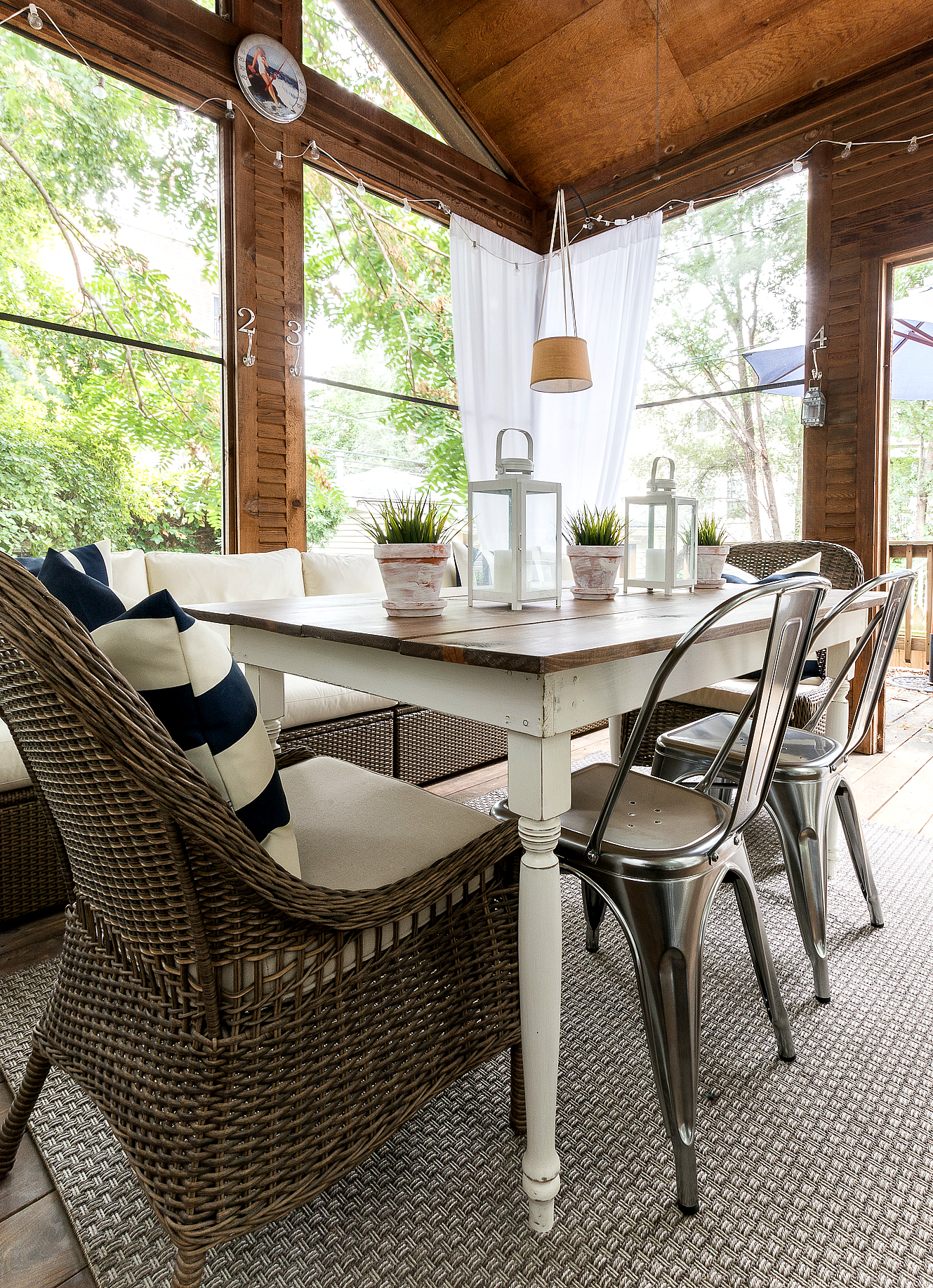 Farmhouse Table Wicker And Metal Chairs Screen Porch 3 1 1 It All Started With Paint