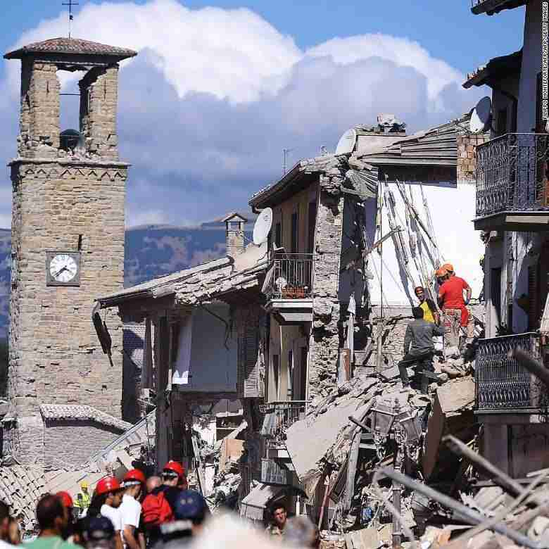 amatrice earthquake devastation clocktower