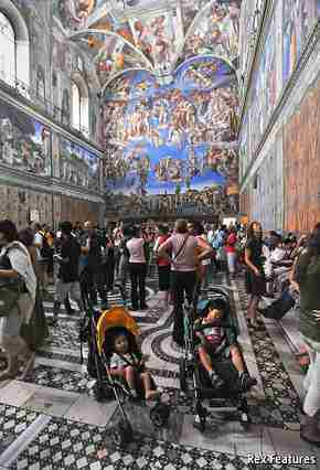 A very crowded Sistine Chapel ( (c) The Economist)