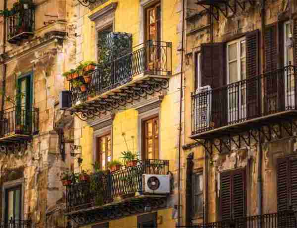 Air conditioning units outside Sicilian apartments