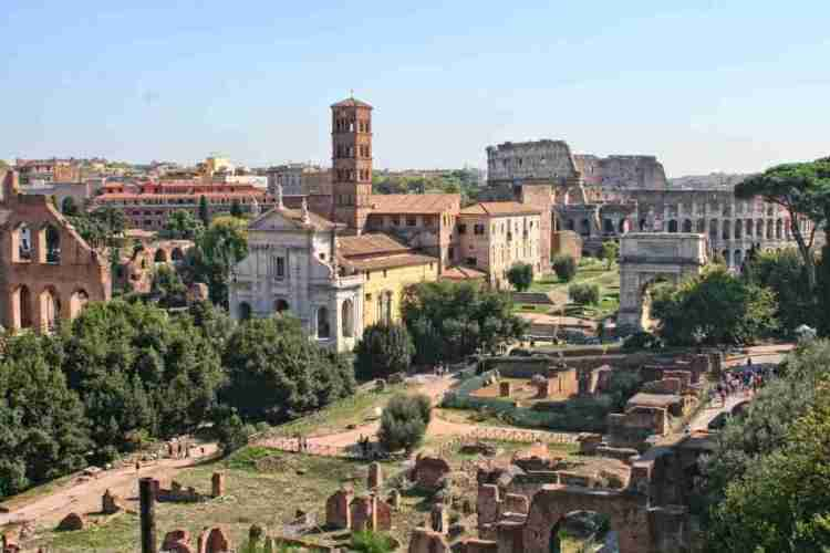 View of the Roman Forum and Colosseum