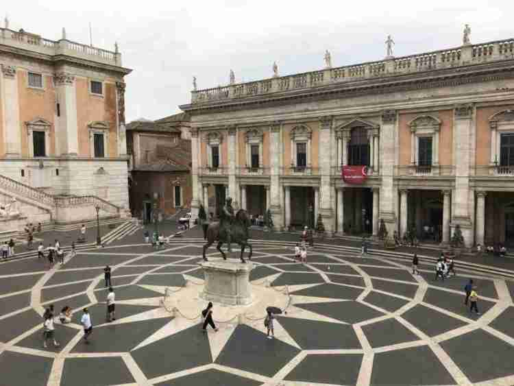 Piazza Campidoglio with Michelangelo's geometric pattern