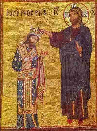 Palermo mosaic - Roger II of Sicily being crowned by Christ