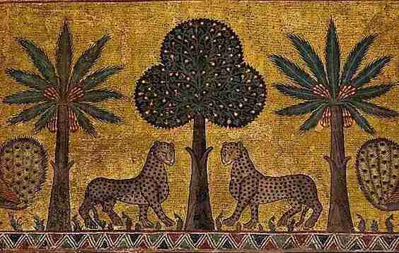 Iconic leopard mosaics in the Sala Ruggero in Palermo, Sicily