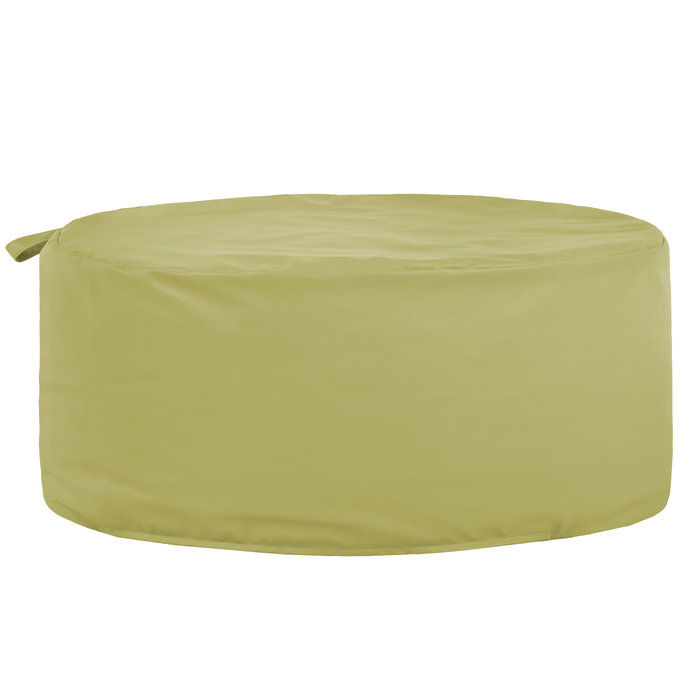 Pouf ecopelle moderno tondo da salotto Pouf verde scuro