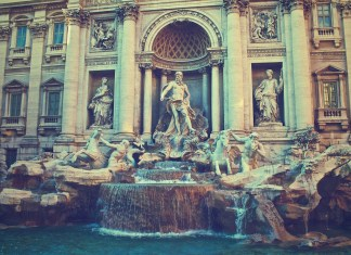Trevi Fountain, Rome, Italy in winter months