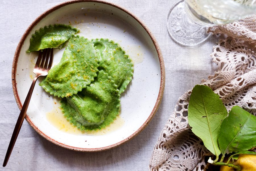 nettle ravioli with goat's cheese-italy on my mind