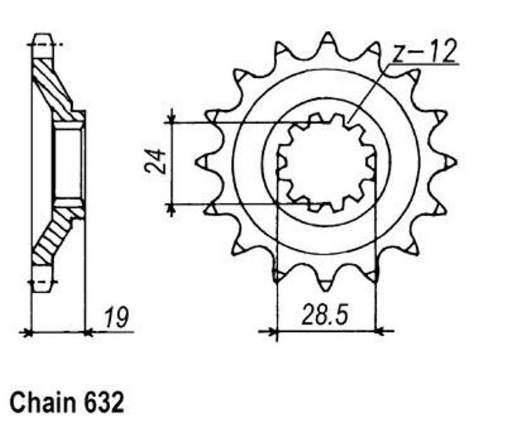 KR Ritzel 15Z Teilung 632 KAWASAKI GPZ 1000 RX A 86-87 New