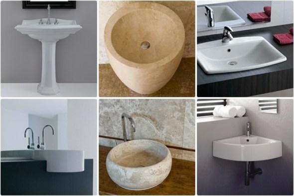 Tipologie lavabi: Colonna, Free standing, Incasso, Semicasso, Appoggio, Angolo