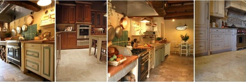 Cucine con pavimenti in travertino