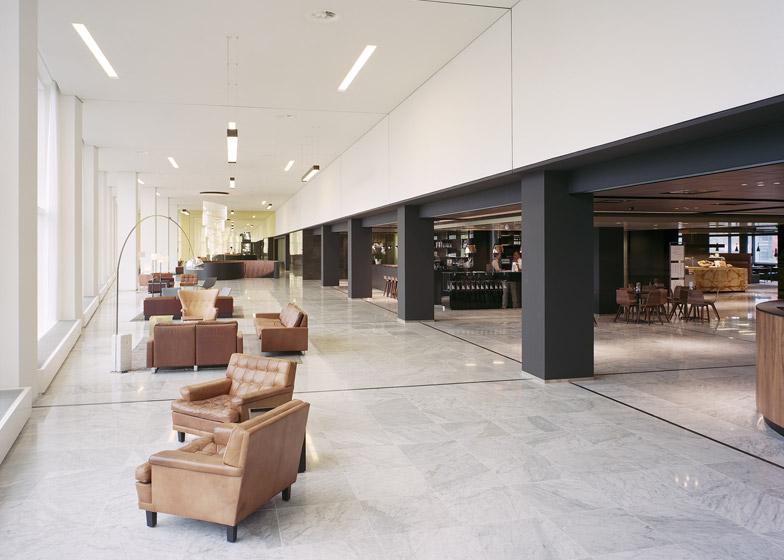ristrutturazione edificio uffici a rotterdam hall foyer in marmo