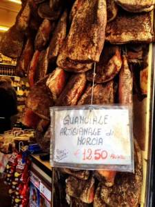 A profuse display of guanciale, an essential ingredient in Bucantini Amatriciana