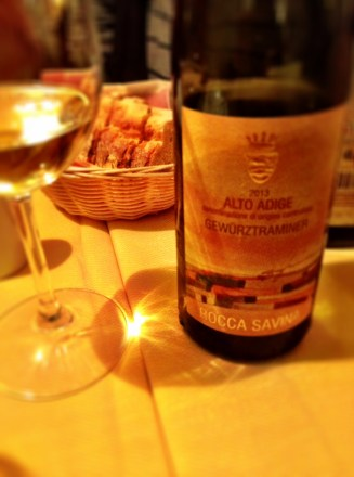 A delicious Gewurstraminer from the Alto Adige, by Roca Savina, is just one of an impressive list of 168 wines.