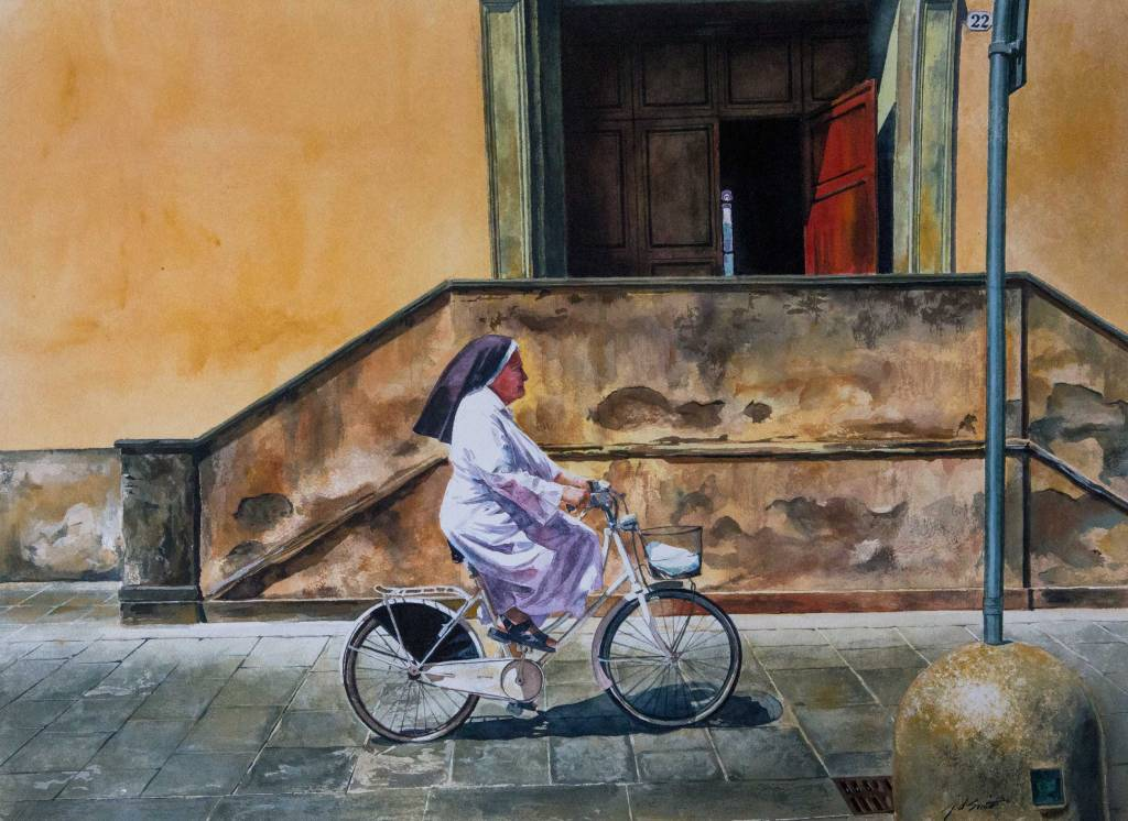Watercolor of Sister Has Wheels