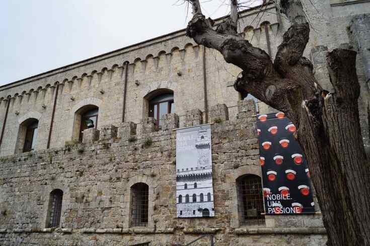 La fortezza di Montepulciano che ospita tradizionalmente l'Anteprima del Nobile in febbraio