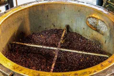 Le vinacce durante la produzione della grappa alla distilleria Bonollo di Torrita di Siena
