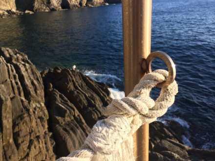 La scogliera di Riomaggiore, con un simpatico gabbiano a farci compagnia al tramonto