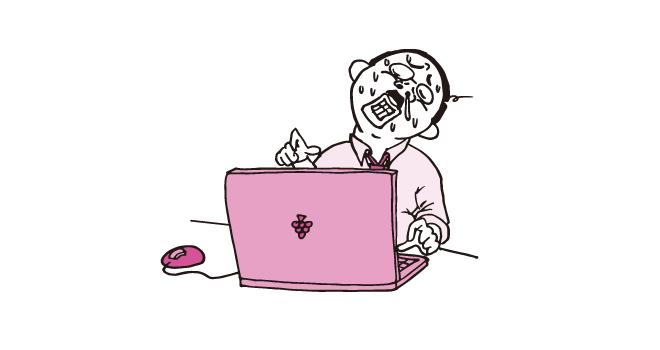 パソコンに向かい必死に残業するおっさん(ピンク色Ver)