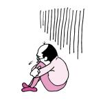 怒られてしょんぼりするおっさん(ピンク色ver)
