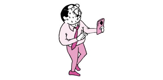 老眼でスマホに目を凝らすおっさん(ピンク色ver)