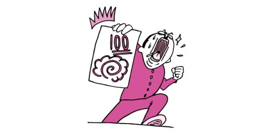 100点のテストを掲げる学生(ピンク色ver)