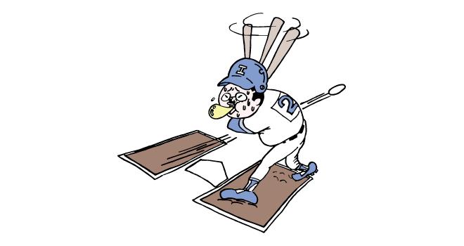 野球でストライクをとられるおっさん