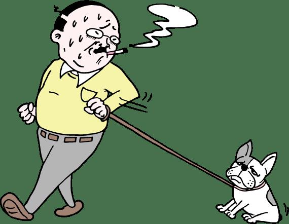 犬と散歩するおっさんのイラスト