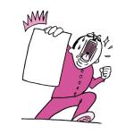 紙を掲げるおっさん(ピンク色ver)