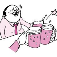 飲み会で乾杯するおっさん(ピンク色Ver)