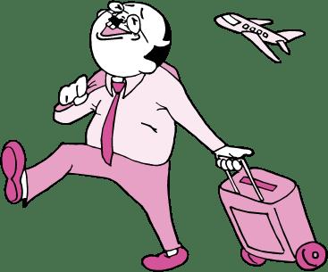 出張するおっさん(ピンク色Ver)のイラスト