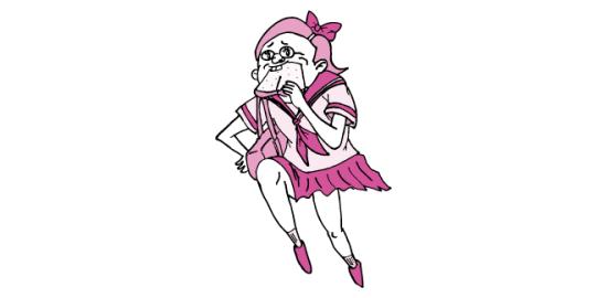 遅刻寸前でパンを加えて家を出た少女(ピンク色Ver)