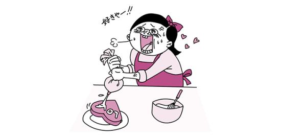 バレンタインのチョコ作りをする女子(ピンク色Ver)