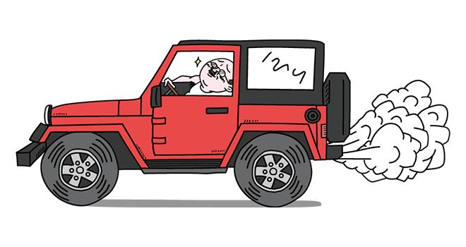 イキって運転するおっさん(赤色Ver)