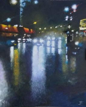 Nuit tranquille à Clichy - Huile sur toile - 120 x 100 cm