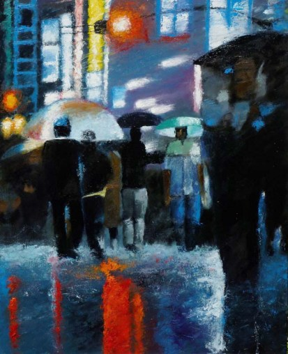 Tokyo Hotels - Huile sur toile-100 x 80 cm