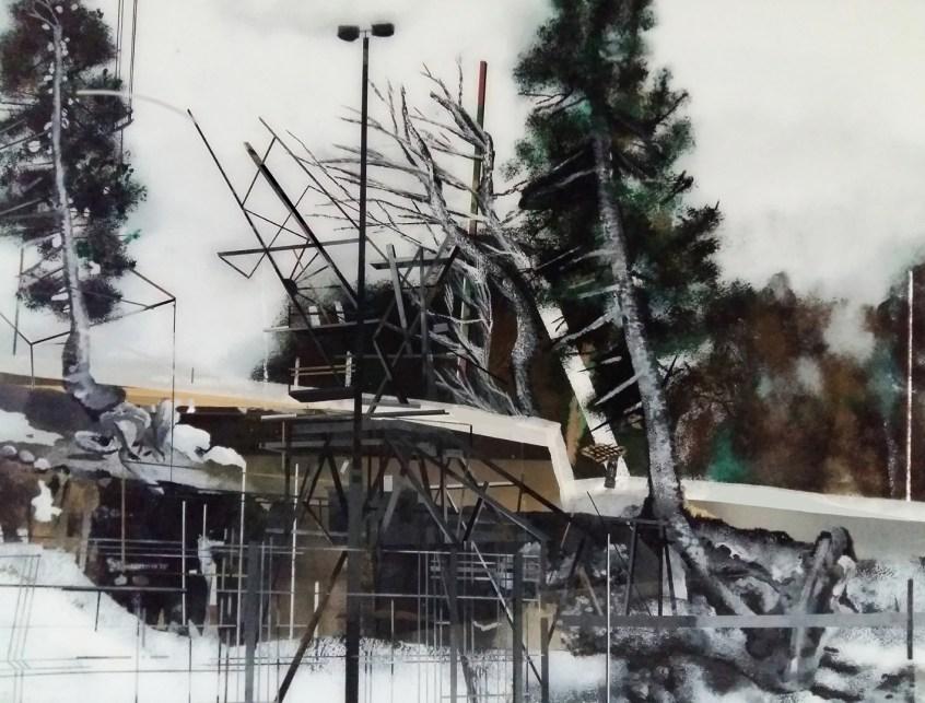 Muriel Rodolosse, in between, peinture inversée sous Plexiglas,100x140cm, 2017